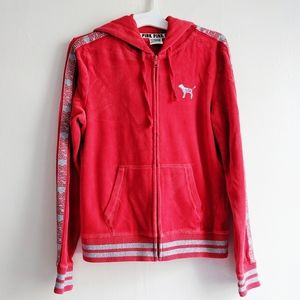 Victoria's secret Pink red velour sequin hoodie
